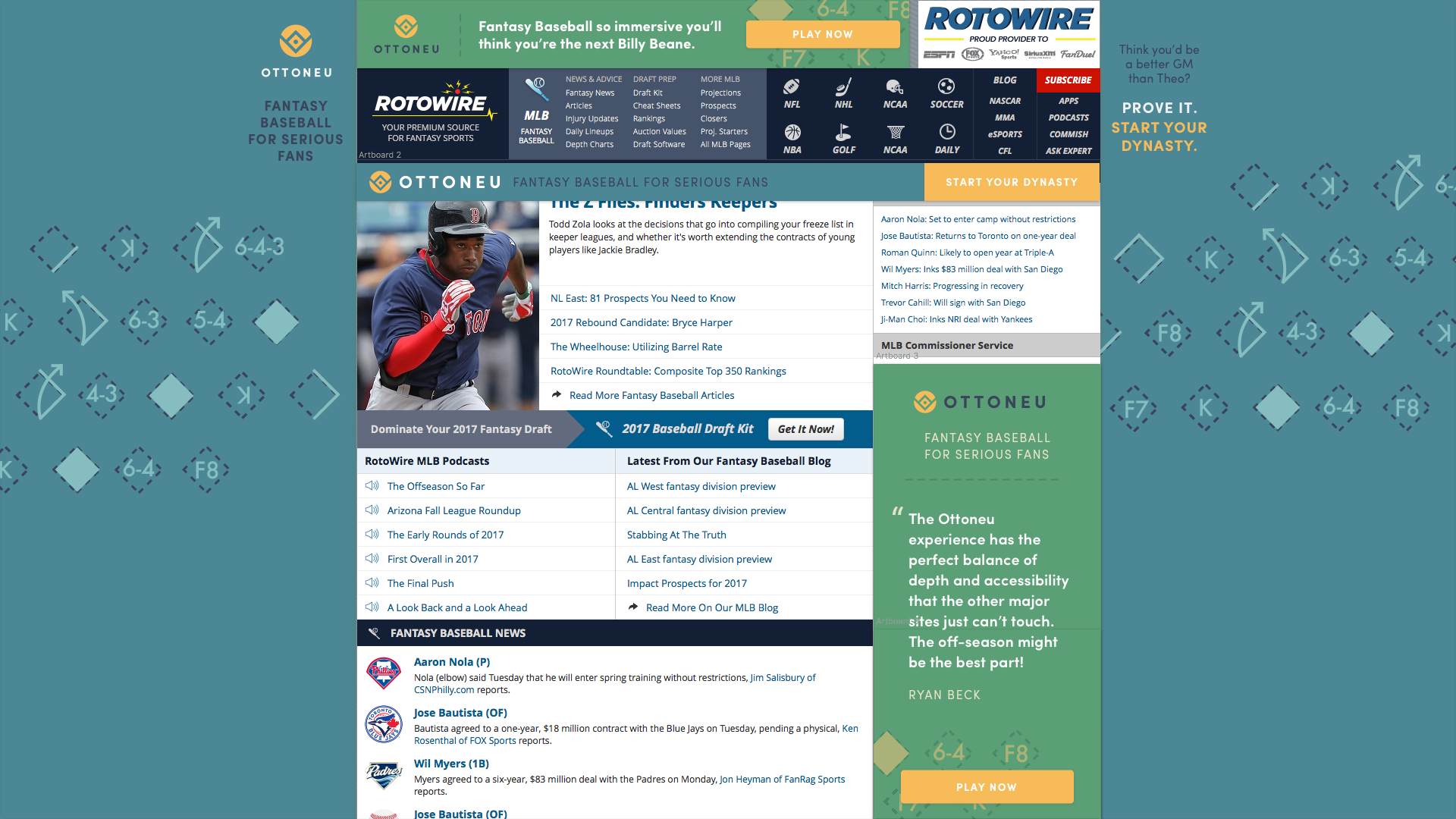 A screenshot of Rotowire website with the Ottoneu ads in the background and top and sides