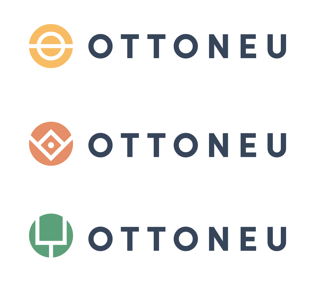 The three final logos for Ottoneu stacked on top of each other