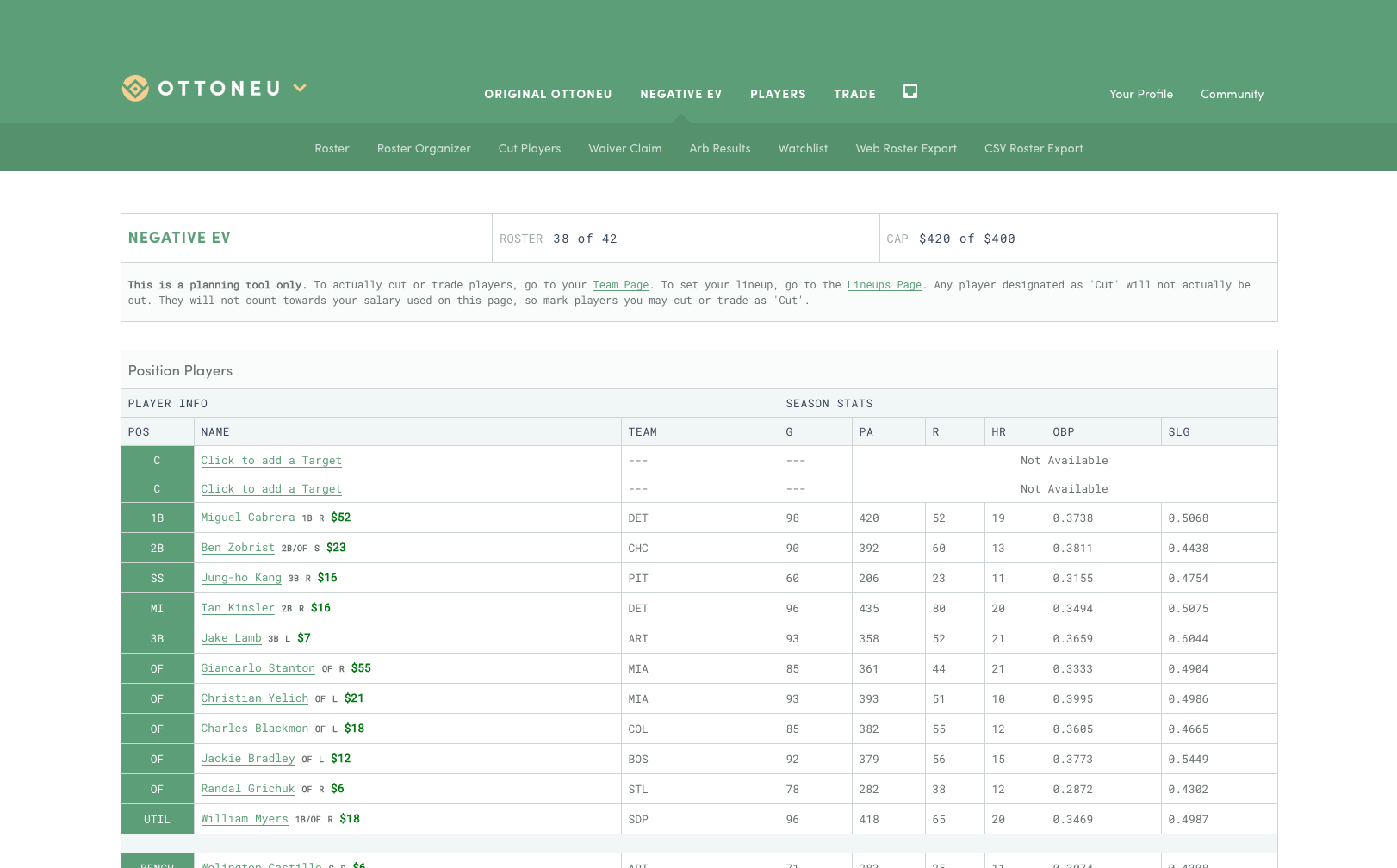A screenshot of the baseball team page with a table of players and stats