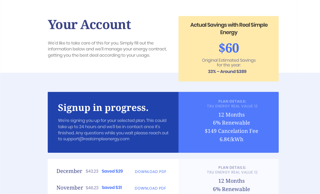 Screenshot of account page design while person is being signed up for a new plan.