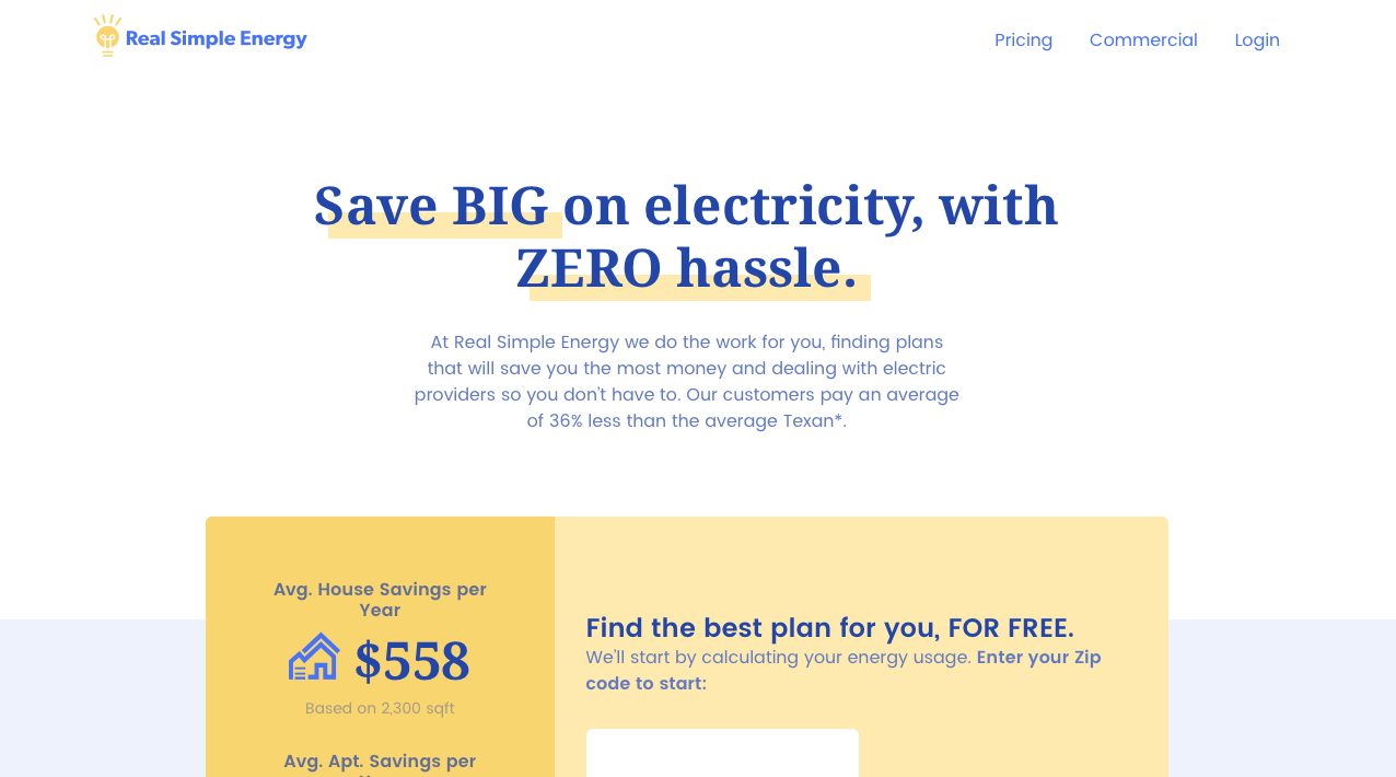 Screenshot of an iteration of the homepage. Text says: Save big on electricity, with zero hassle.