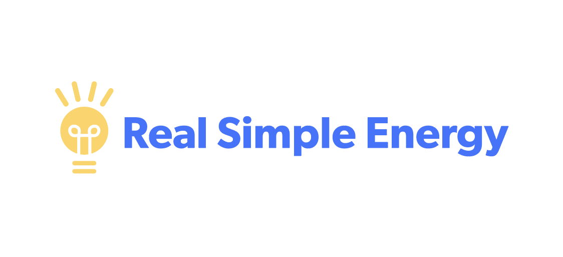 Real Simple Energy logo. Lightbulb and text.