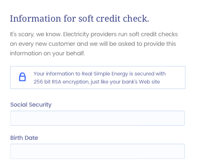 Part of the UI that explains why we needed a soft credit check.