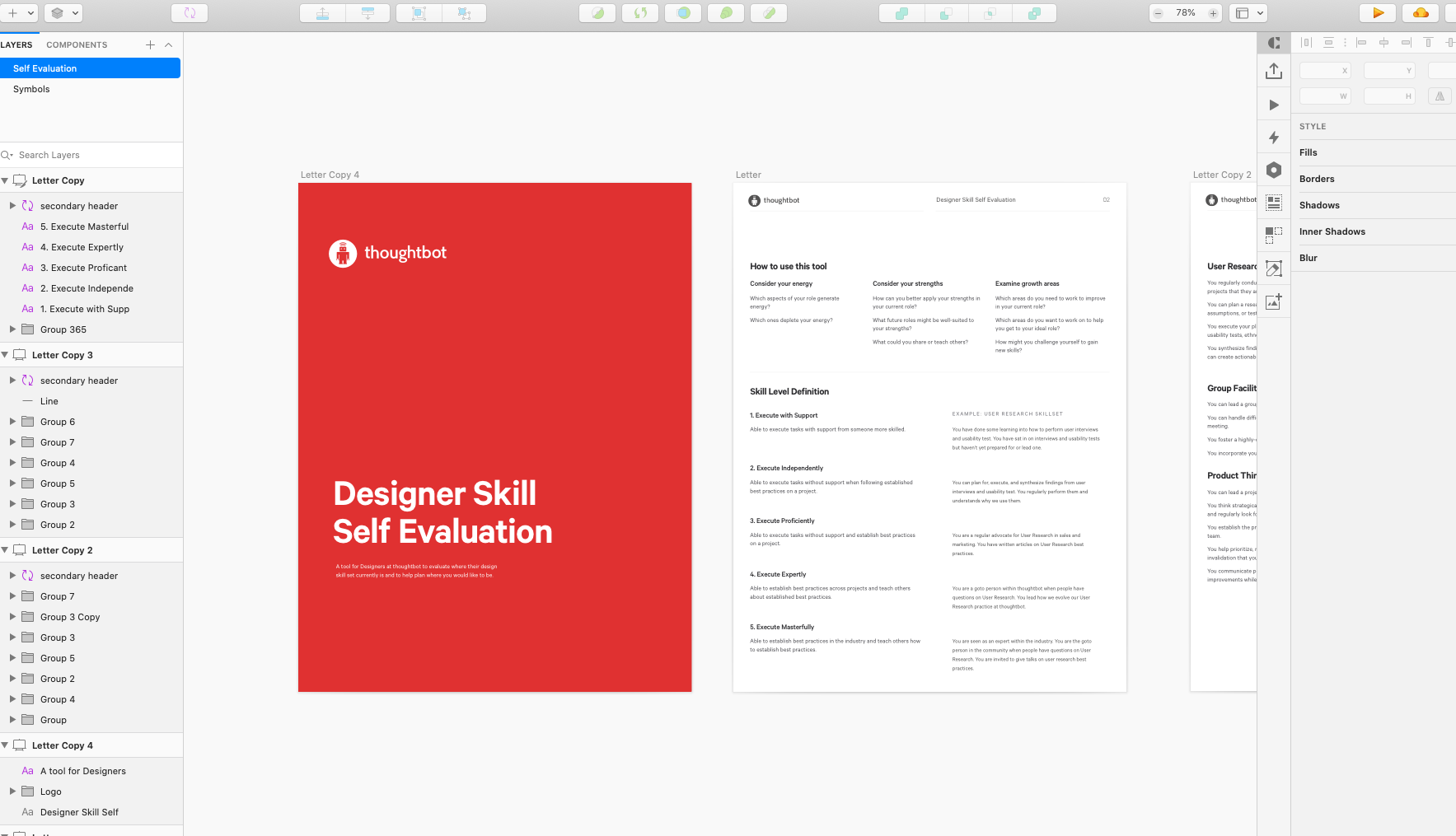 Screenshot of Sketch program and artboards with the self-evaluation in it.
