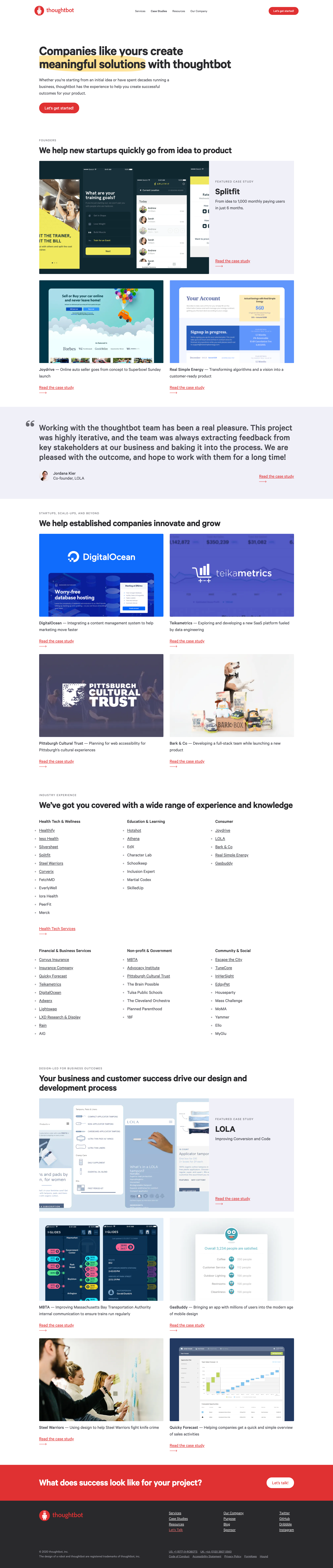 A screenshot of the Case Studies page on thoughtbot.com