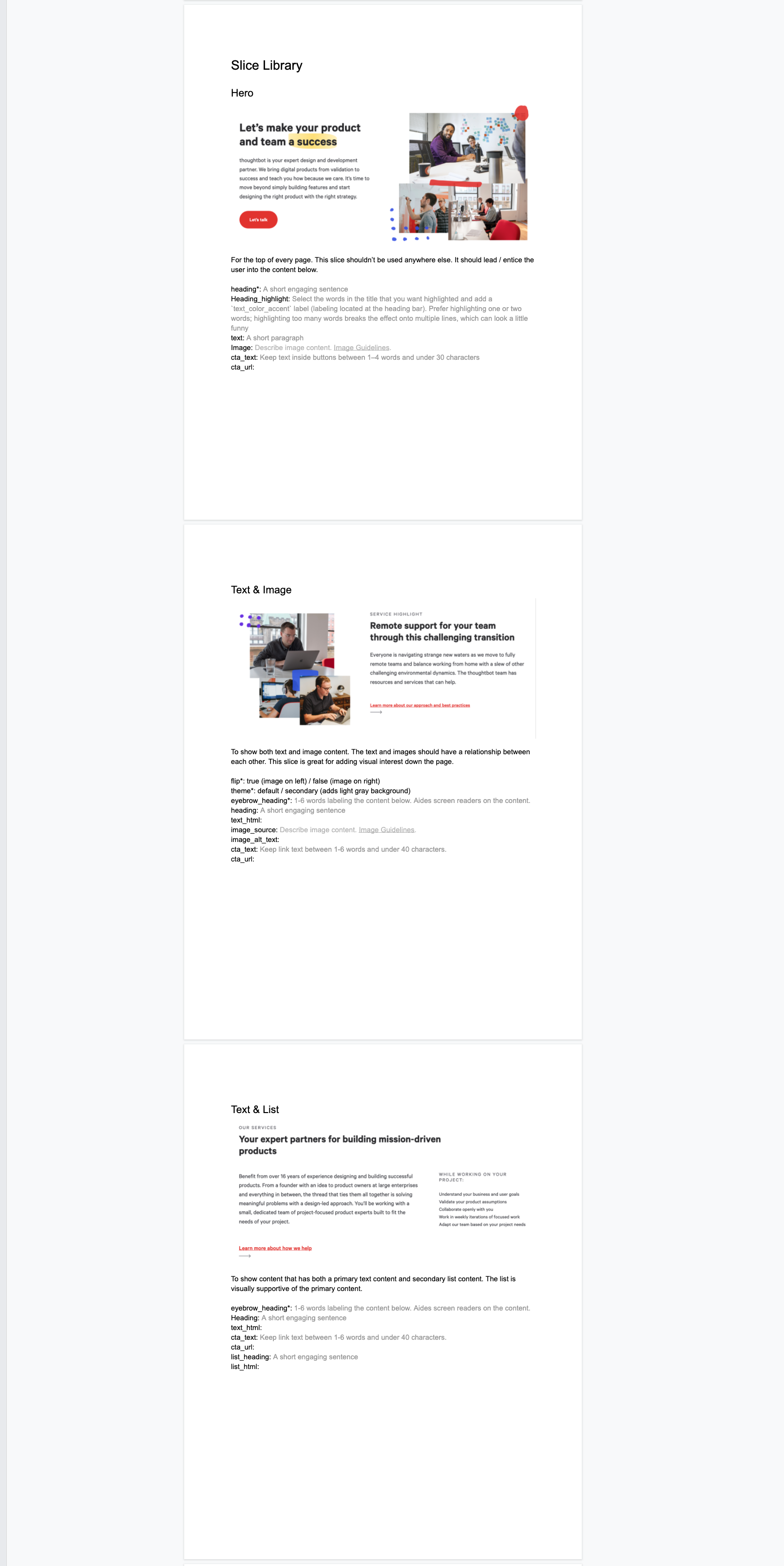 A screenshot of a few of the slice documentation for the Marketing team